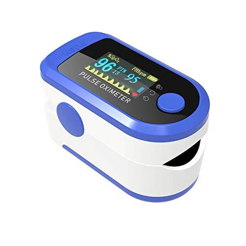 AIQURA pulsómetro de dedo oxígeno – pulsioxímetro de dedo profesional – oxímetro medidor de oxígeno en sangre portátil - SpO2, frecuencia del pulso, BPM