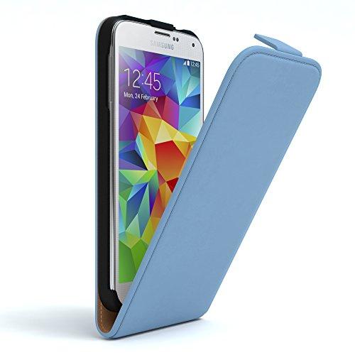 EAZY CASE Hülle kompatibel mit Samsung Galaxy S5/LTE+/Duos/Neo Hülle Flip Cover zum Aufklappen, Handyhülle aufklappbar, Schutzhülle, Flipcase, Flipstyle Hülle vertikal klappbar, Kunstleder, Hellblau