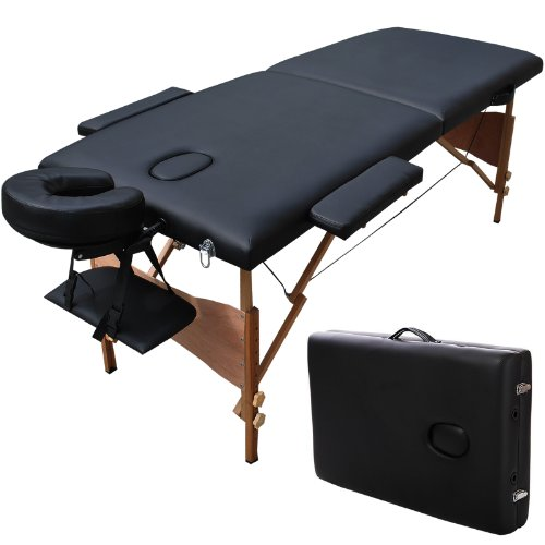 Portable Massage Table Facial SPA Bed Tattoo w/Free Carry Case Black