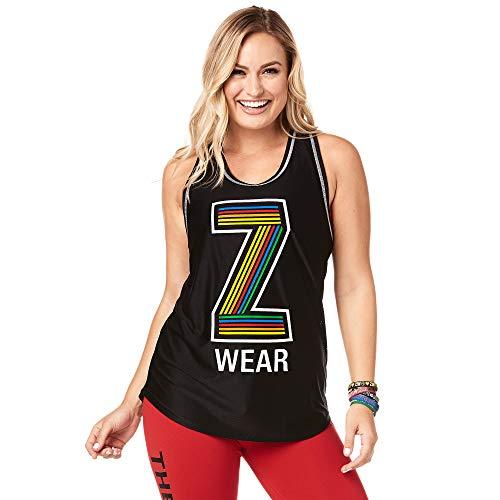 Zumba Atmungsaktives Jersey-Trainingsoberteil Fitness Dance Sexy Tank Top Damen, Black BB, L