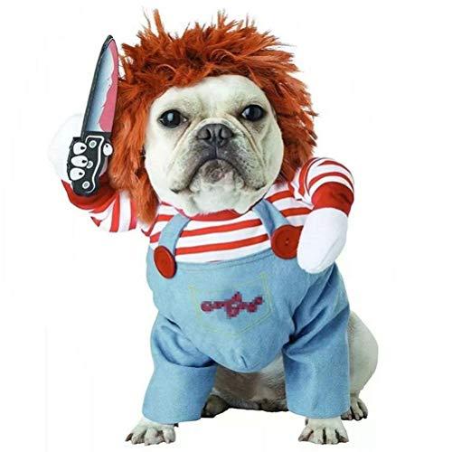 Disfraz de perro de Halloween Disfraces para perros Disfraces divertidos de Cosplay Muñeca Chucky Disfraz de perro con sombrero Ropa de fiesta Disfraz de Navidad para perros grandes y pequeños,XS
