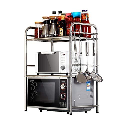 HYYDP Cocina Rack Estante de Almacenamiento microondas Cocina Organizador de múltiples Funciones Guardar Oso Espacio Peso Pesado de Acero Inoxidable de Plata Estantes y Soportes para ollas y sartenes