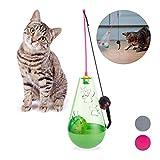 Relaxdays Katzenspielzeug, interaktiv, wippend, Snackball, Spielangel mit Spielzeugmaus, Ball mit Glöckchen, 3in1, grün