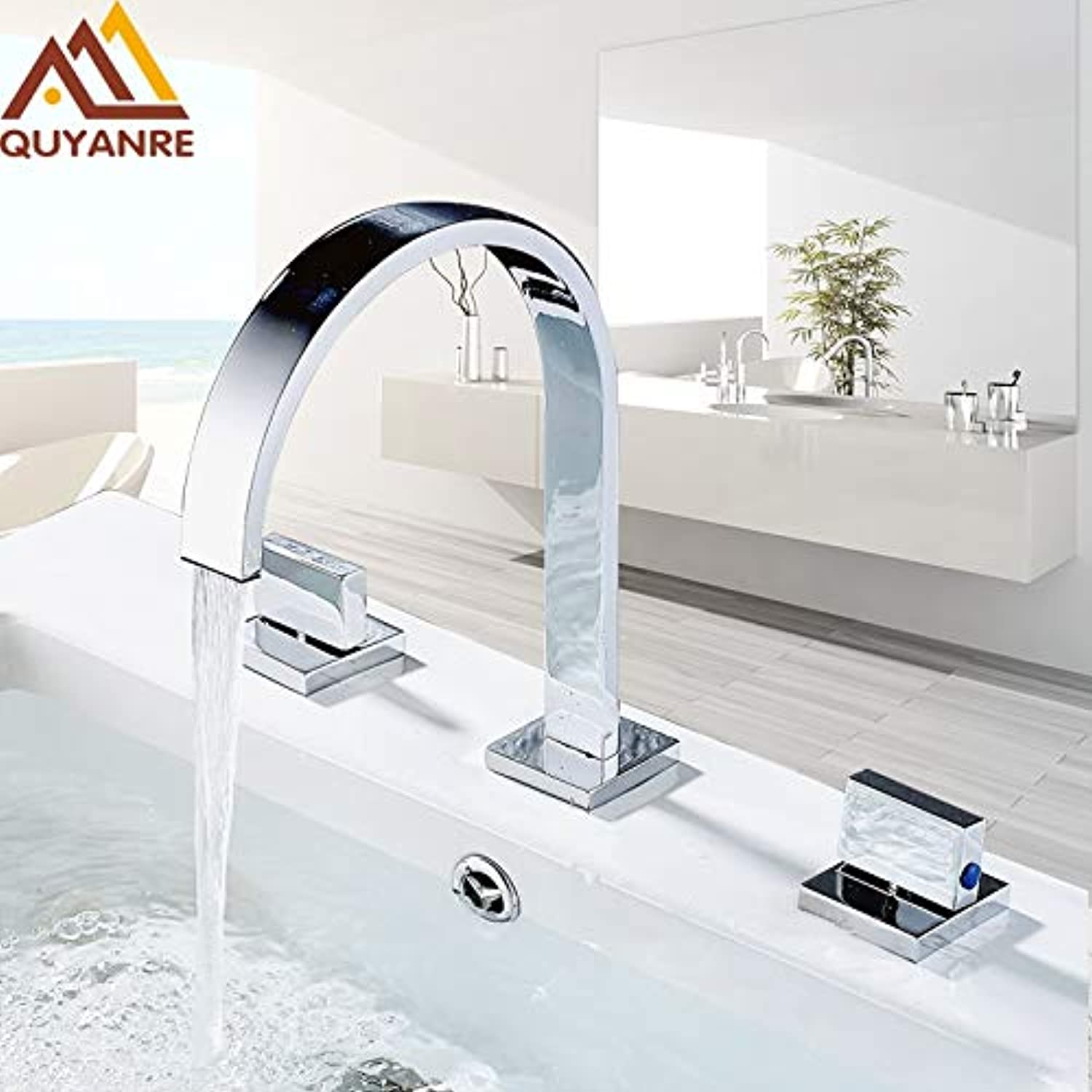 U-Enjoy Chandelier Faucets Chrome Basin Polished Mounted Top Quality Square Deck Bathroom Sink Faucets Hole Double Handle 3 Hot and Cold Water Tap Free Shipping