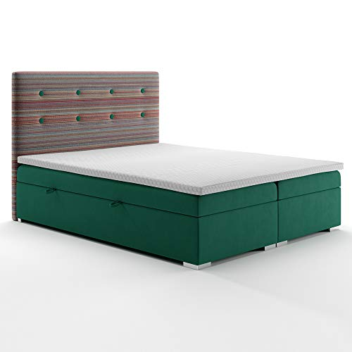Selsey LOTUME - Boxspringbett Doppelbett mit Bonellfederkernmatratze Topper Bettkasten und Stoffbezug in Grün gestreift, 140x200 cm