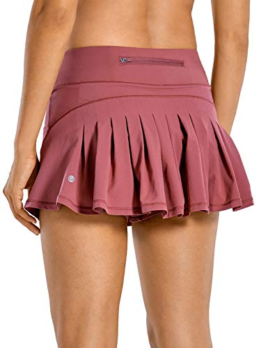 CRZ YOGA Women's Quick-Dry Athletic Tennis Skirts Volleyball Shorts Mid-Waisted Pleated Skirts Sports Skorts Misty Merlot X-Small