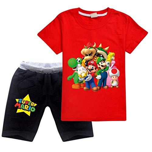 Jungen Super Mario Drucken T-Shirt & Kurze Hose Baumwoll-Kleidungsset Sportanzüge Mädchen Sommer Kurzarm Pyjama (red, 5-6 Jahre)