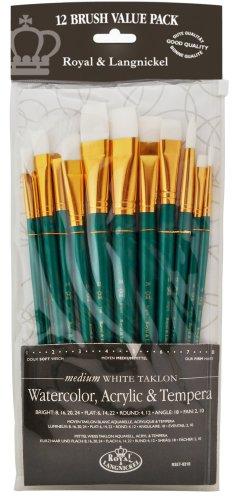 Royal & Langnickel RSET-9310 - Juego de pinceles de fibra de taklon (12 unidades, puntas variadas)