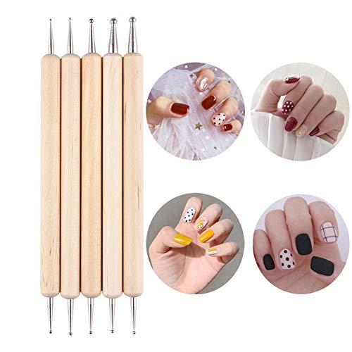 UR SUGAR 5Pcs Dotting Pen Zwei Wege Tool Set Mehrfarbig Dotting Pen Punktierung Stift Hölzern...