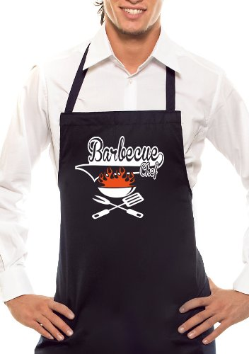Comedy Grill Barbecue Chef – Bicolore – Tablier de Barbecue Noir/Orange/Blanc