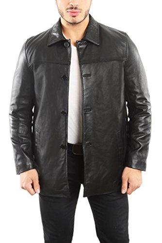 REED EST. 1950 Men's Jacket Genuine Lambskin Leather Four Button Car Coat (XL, Black)