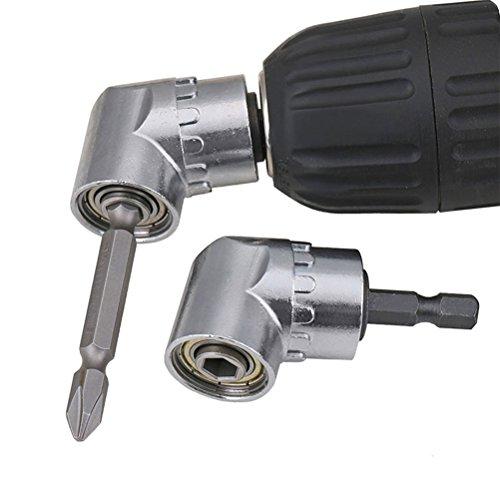 TIMESETL 105 Grado Taladro de ángulo recto 1/4 de pulgada de 6 mm hexagonal Broca de destornillador de socket adaptador de portabrocas