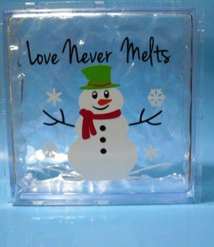 Strong689 6' x 6' Love Never Melts Snowman Christmas Decal Sticker for 8' Glass Block Shadow Box