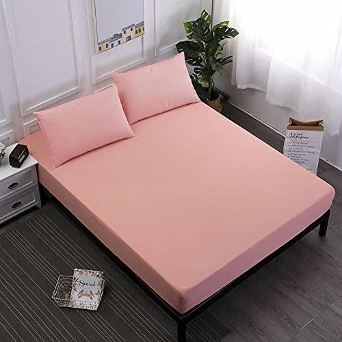 XGguo Protector de colchón Transpirable.Rizo Bambú. Sábana Impermeable para mojar la Cama Paquete Completo-Coral Red_200X200 + 30CM