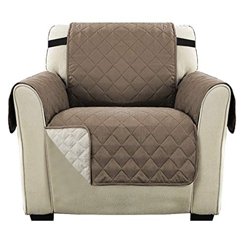 Reversible 1 Seater Chair Sofa Cover Furniture Protector with Adjustable Strap, Sitting Width Up to 21' Chair Covers for Pets and Kids, Microfiber Durable, Water-Repellent (Chair, Taupe/Beige)