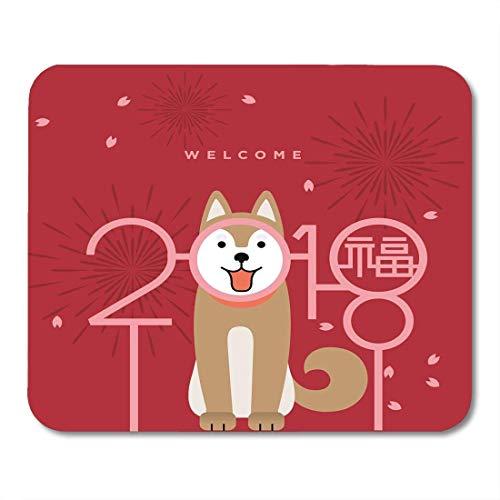 Mauspads Tierrot CNY Jahr des Hundes 2018 Chinesisch Neue Übersetzung Happy Bless White Abstract Schmetterlingsmaus MatsMouse Pad