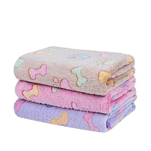Dono 1 Pack 3 Blankets Soft Fluffy Cute Bone Pattern Fleece Pet Blanket Warm Sleep Mat Cute Print Design Puppy Kitten Blanket Doggy Mat Paw Print for Dog Cat Kitten Doggy and Animals
