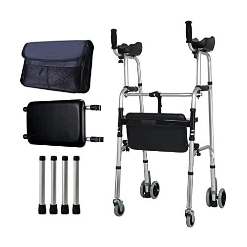 con Asiento,Andador De Bipedestación,Plegable Movilidad Ayuda A Caminar,2 Ruedas,Andador para Ancianos Sin Ruedas,Material:aleación De Aluminio Puede Soportar 400ib