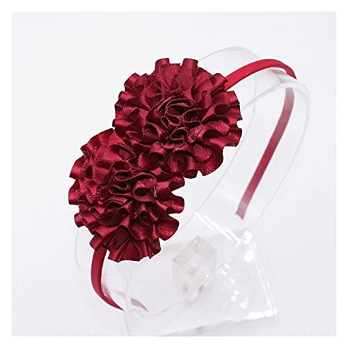 Cerchietto per capelli Dolci colori fiori per capelli per ragazza carino seta floreale floreale fasce per capelli per bambini arco per capelli accessori per capelli per le donne ( Color : Burgundy )