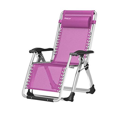 Pliant Balcon Inclinable Bain De Soleil Ancienne Chaise Chaise Maison Femme Enceinte Chaise Déjeuner Lit Spécial Épais Carré Tube Renforcement Renforcement (Color : Pink)