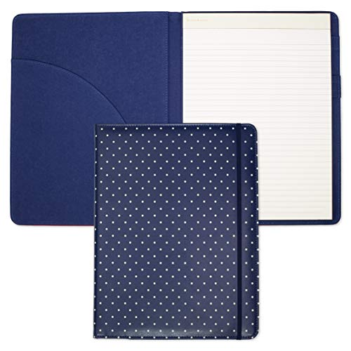 Kate Spade New York Blue Leatherette Notepad Folio, Professional Padfolio with Lined Writing Pad, Interior Pocket, and Pen Loop, Larabee Dot Navy