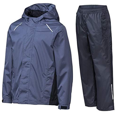 Crivit Jungen Regenanzug Regenjacke Regenhose Regenkombi Matschanzug Windjacke Überhose (110/116, blau)
