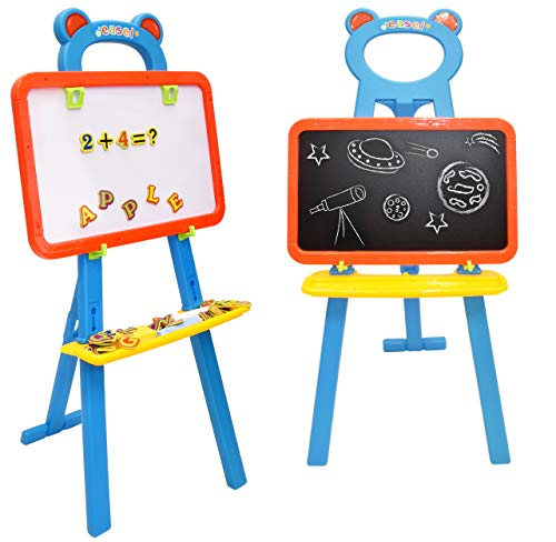 Deluxe Standing Easel Board for Kids 3 in 1 Dry Erase White Board Magnetic Board and Chalkboard Art Activity Drawing for Artist with Learning Magnetic Alphabet and Numbers Chalk and Eraser