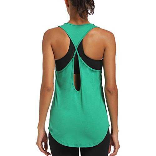 JUYEE Yoga Tops for Women Activewear Workout Tank Tops Athletic Women's Sleeveless Tops Open Back Running Sports Shirts Green