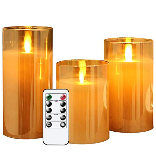 Eldnacele Flammenlose flackernde Glas beweglicher Docht LED Kerze mit Fernbedienung Timer Batteriebetrieben Echtwachs Stumpenkerzen 3er Set für Party Hochzeit Festival Tischdekoration Art Deco