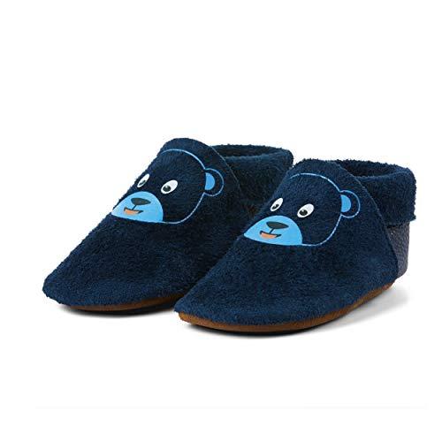 Affenzahn Krabbelschuh, Babyschuh aus Leder für Mädchen und Jungen - Bär, Blau,Small
