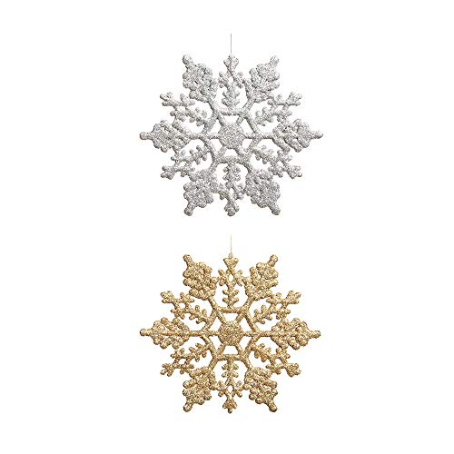 "Plastic Glitter Snowflake - Pack of 48 Multiple Color Snowflakes - 4"" Hanging Sparkling Christmas Snowflakes - Snowflake Decorations Christmas Ornaments (Silver/ Gold)"