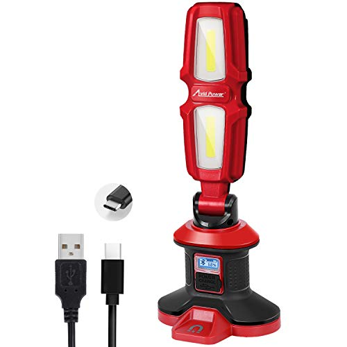 Work Light, True 2000 Lumens 20W LED Rechargeable Flashlight, Bluetooth Speaker Function, 4400 mAh with 2 Light Modes, USB Cable Input & Output, Magnetic Base, Rotating Head and Handle, AVID POWER