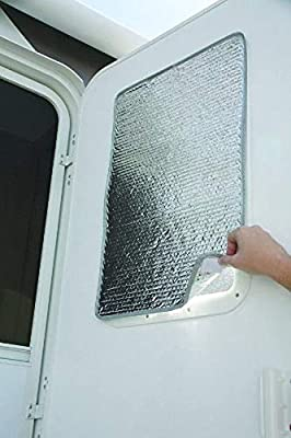 RV Door Window Cover Shade - Double-Sided 16 x 25 - Travel Trailer Reflective RV Window Shade Regulates Temperature - RV Window Coverings Protect Your RV from UV Rays - Easy to Install Sun Shade from ZavaStore
