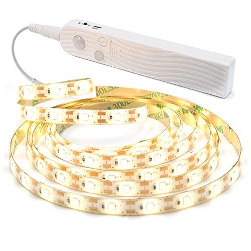 「Aotealit」 LED センサーテープ 人感センサーライト 60LEDs/M 2M センサー テープライト AAA電池 USB充電 2種類給電 防水 自動点灯/消灯 工事不要 貼り付け型 取り付け簡単 正面発光 昼白色(ちょっと電球色ぽい)