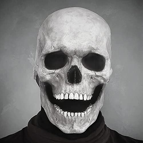 Creepy Halloween Full Head Skull Mask with Moving Jaw, Adult Entire Head Realistic Latex Helmet, Scary Skeleton Headgear,back to school (White(Hard glue))