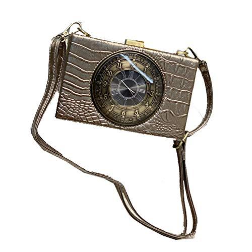 Real Working Clock Shoulderbags Creative Crocodile Pattern Small Bag Female Diagonal Small Bags Real Clock Purse and Handbags Womens Steampunk Style Handbag (Bronze)