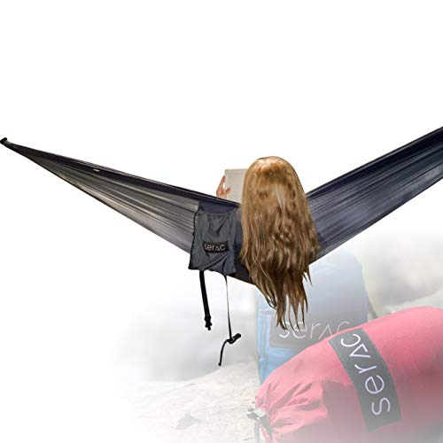 Serac [Premium Double Hammock & Strap Bundle] Sequoia XL Wide Camping Hammock with Ultralight Ripstop Nylon and Quick-Hang Suspension System - for The Backpack, Travel & Camping (Midnight Navy/Black)
