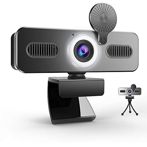 Belnk A9C FHD - Webcam (1080P, con micrófono y anillo de luz, brillo ajustable, con cubierta de privacidad y cámara web)