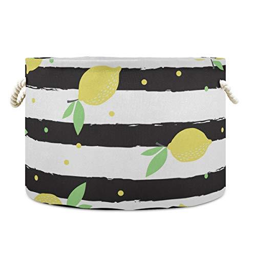 Cesta de almacenamiento de lona con diseño de rayas de limón 2020047