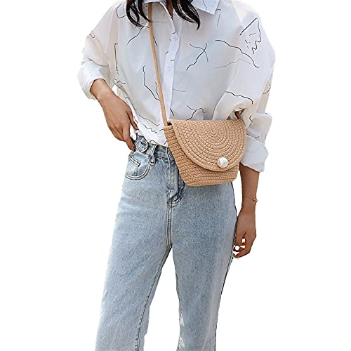 Miss Keering Woms Straw Clutch Evening Women sobre Bagbag (Color : Khaki)