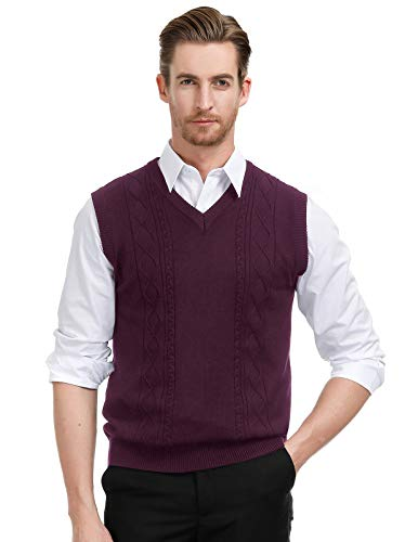 PJ PAUL JONES Men's Sweaters Vests Cable Knitted Sleeveless Pullover Sweater XL Dark Purple