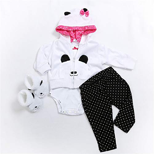 Zero Pam Reborn Baby Dolls Accessories Ideal Outfit Set for 22 inch Baby Reborn Girl with Toys and Pacifier (Panda)