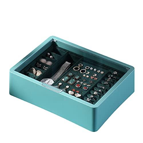 BOLE Portátil Caja de joyería de 2 Capas Caja de joyería Rectangular para Pendiente Anillo oído Tachuelas Reloj Regalos de cumpleaños Mujeres niña joyería Organizador Exterior