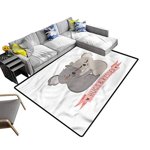 Koala, Home Decor Carpet Valentines Day Australia Bear Super Soft Indoor Modern Area Rugs for Bedroom Play Room Game, 5'x 8'