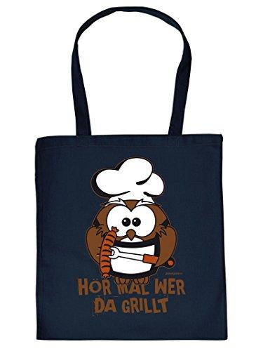 Mega coole Baumwolltasche für den Grill Fan - Hör mal wer da grillt - Einkaufstasche Mitbringsel Grillparty Partygeschenk Geschenk für coole Männer
