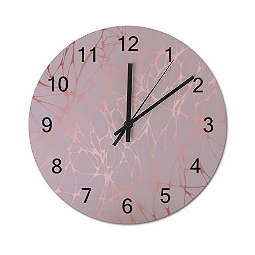 Reloj de Pared ,Mármol de Oro Rosa, Relojes de Pared Digitales de Madera Que no Hacen tictac, Funcionan con Pilas, decoración Sala de Estar, Dormitorio, Aula, Oficina (10 Pulgadas).