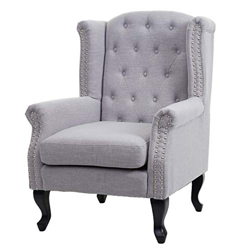 Mendler Sessel Chesterfield, Relaxsessel Clubsessel Ohrensessel, Stoff/Textil wasserabweisend ~ grau ohne Ottomane