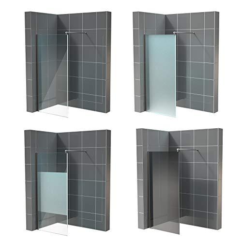 'Walk in Dusche komplett Nano ESG 10mm in vielen Designs 2000mm x 1100mm satinierter Mittelstreifen Echtglas Duschtrennwand