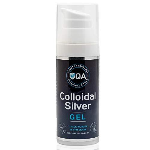 QA Colloidal Silver Gel - 25 ppm Pure Colloidal Silver Topical Gel - GMP Facility - Colloidal Silver Ointment for Skin - 2 oz Nano Silver Salve
