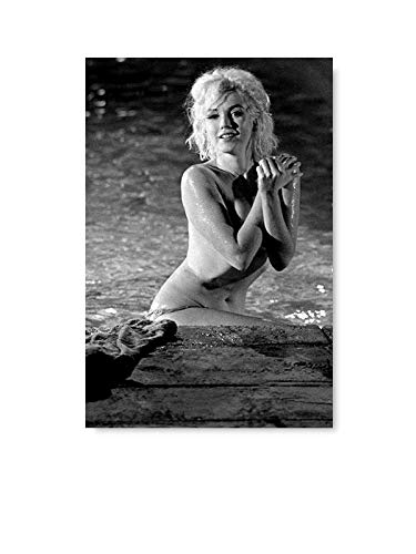 Marilyn Monroe Fine Art Black and White Printed Decor for Home Naked Marilyn Monroe Canvas Sea 8' x 12' - Poster